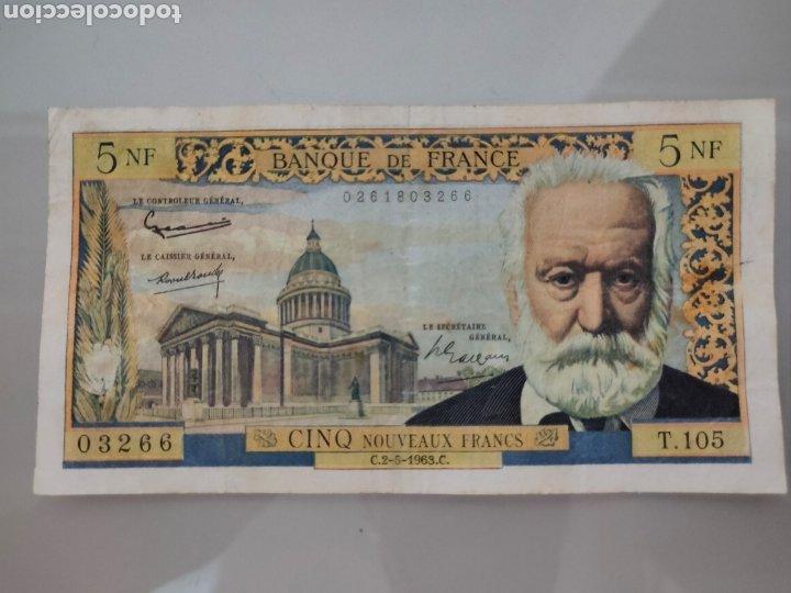 BILLETE 5 NOUVEAUX FRANCS 1962 FRANCIA VICTOR HUGO (Numismática - Notafilia - Billetes Internacionales)