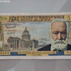 Billetes extranjeros: BILLETE 5 NOUVEAUX FRANCS 1962 FRANCIA VICTOR HUGO. Lote 206328095