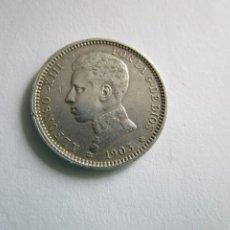 Billetes extranjeros: ALFONSO XIII . PRECIOSA MONEDA DE 1 PESETA DE PLATA . AÑO 1903 . ESTRELLAS PERFECTAS. Lote 206966933