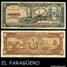 Billetes extranjeros: CUBA 10 PESOS DE 1958 SERIE E479730A (CARLOS MANUEL DE CESPEDES 1º PRESIDENTE DE LA REPUBLICA CUBANA. Lote 207042160