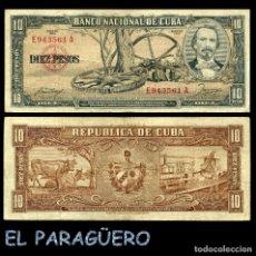 Billetes extranjeros: CUBA 10 PESOS DE 1958 SERIE E943561A (CARLOS MANUEL DE CESPEDES 1º PRESIDENTE DE LA REPUBLICA CUBANA. Lote 207042225
