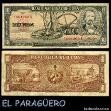 Billetes extranjeros: CUBA 10 PESOS DE 1958 SERIE E801260A (CARLOS MANUEL DE CESPEDES 1º PRESIDENTE DE LA REPUBLICA CUBANA. Lote 207042342