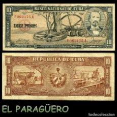 Billetes extranjeros: CUBA 10 PESOS DE 1958 SERIE F062175A (CARLOS MANUEL DE CESPEDES 1º PRESIDENTE DE LA REPUBLICA CUBANA. Lote 207042518