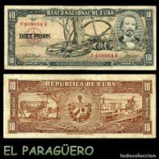 Billetes extranjeros: CUBA 10 PESOS DE 1958 SERIE F409054A (CARLOS MANUEL DE CESPEDES 1º PRESIDENTE DE LA REPUBLICA CUBANA. Lote 207042582