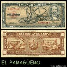 Billetes extranjeros: CUBA 10 PESOS DE 1958 SERIE F500534A (CARLOS MANUEL DE CESPEDES 1º PRESIDENTE DE LA REPUBLICA CUBANA. Lote 207042650