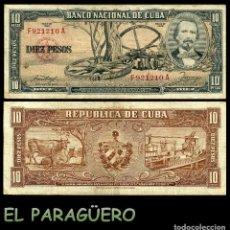 Billetes extranjeros: CUBA 10 PESOS DE 1958 SERIE F921210A (CARLOS MANUEL DE CESPEDES 1º PRESIDENTE DE LA REPUBLICA CUBANA. Lote 207042677