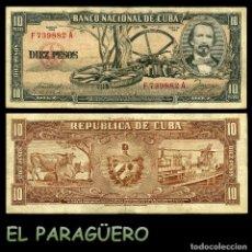 Billetes extranjeros: CUBA 10 PESOS DE 1958 SERIE F739882A (CARLOS MANUEL DE CESPEDES 1º PRESIDENTE DE LA REPUBLICA CUBANA. Lote 207043335