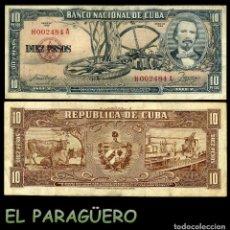 Billetes extranjeros: CUBA 10 PESOS DE 1958 SERIE H002484A (CARLOS MANUEL DE CESPEDES 1º PRESIDENTE DE LA REPUBLICA CUBANA. Lote 207043413