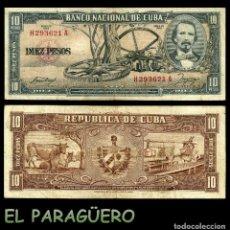 Billetes extranjeros: CUBA 10 PESOS DE 1958 SERIE H293621A (CARLOS MANUEL DE CESPEDES 1º PRESIDENTE DE LA REPUBLICA CUBANA. Lote 207043430