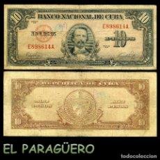 Billetes extranjeros: CUBA 10 PESOS DE 1949 SERIE E898614A (CARLOS MANUEL DE CESPEDES 1º PRESIDENTE DE LA REPUBLICA CUBANA. Lote 207043653
