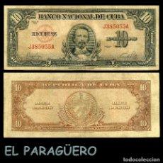 Billetes extranjeros: CUBA 10 PESOS DE 1949 SERIE J385055A (CARLOS MANUEL DE CESPEDES 1º PRESIDENTE DE LA REPUBLICA CUBANA. Lote 207043886