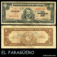 Billetes extranjeros: CUBA 10 PESOS DE 1949 SERIE K147115A (CARLOS MANUEL DE CESPEDES 1º PRESIDENTE DE LA REPUBLICA CUBANA. Lote 207043931