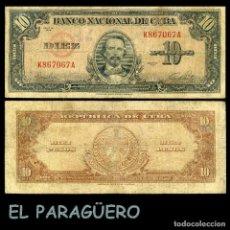 Billetes extranjeros: CUBA 10 PESOS DE 1949 SERIE K867067A (CARLOS MANUEL DE CESPEDES 1º PRESIDENTE DE LA REPUBLICA CUBANA. Lote 207043950