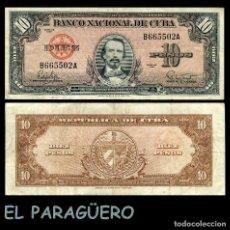 Billetes extranjeros: CUBA 10 PESOS DE 1960 SERIE B665502A (CARLOS MANUEL DE CESPEDES 1º PRESIDENTE DE LA REPUBLICA CUBANA. Lote 207044002