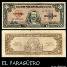Billetes extranjeros: CUBA 10 PESOS DE 1960 SERIE C719255A (CARLOS MANUEL DE CESPEDES 1º PRESIDENTE DE LA REPUBLICA CUBANA. Lote 207044115