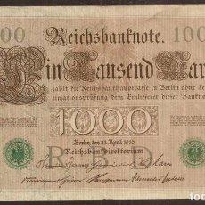Notas Internacionais: ALEMANIA. BONITO 1000 MARK 21.4.1910. PICK 45 B. Nº DE SERIE EN VERDE. 7 DIGITOS.. Lote 207105415