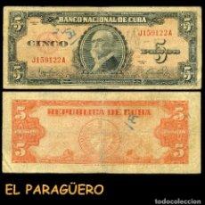 Billetes extranjeros: CUBA 5 PESOS DE 1949 SERIE J159122A ( MAXIMO GOMEZ - GENERAL DE TROPAS REVOLUCIONARIAS CUBANAS ). Lote 207226521