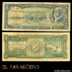 Billetes extranjeros: CUBA 5 PESOS DE 1958 SERIE K996986A ( MAXIMO GOMEZ - GENERAL DE TROPAS REVOLUCIONARIAS CUBANAS ). Lote 207231365