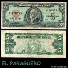 Billetes extranjeros: CUBA 5 PESOS DE 1960 SERIE C782558A ( MAXIMO GOMEZ - GENERAL DE TROPAS REVOLUCIONARIAS CUBANAS ). Lote 207234238