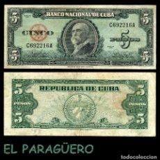 Billetes extranjeros: CUBA 5 PESOS DE 1960 SERIE C692216A ( MAXIMO GOMEZ - GENERAL DE TROPAS REVOLUCIONARIAS CUBANAS ). Lote 207234837
