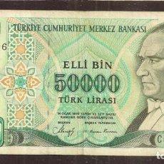 Billetes extranjeros: TURQUIA. 50000 LIRAS L.1970 (1989). SERIE C. PICK 203A.. Lote 207217213