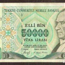 Billetes extranjeros: TURQUIA. 50000 LIRAS L.1970 (1989). SERIE D. PICK 203A.. Lote 207217228