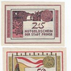 Billetes extranjeros: ALEMANIA SERIE 3 NOTGELD 25, 50 Y 75 PFENNIG 1921 FROHSE - LOTE 251. Lote 207356797