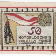 Billetes extranjeros: ALEMANIA NOTGELD 50 PFENNIG 1921 FROHSE - BATALLA DE 1278 - LOTE 252. Lote 207356988