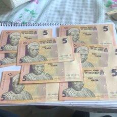 Billetes extranjeros: LOTE DE 10 BILLETES DE NIGERIA FIVE NAIRA, EBC, CORRELATIVOS. Lote 207369858