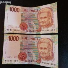 Billetes extranjeros: BILLETE ORIGINAL ITALIA 1000 LIRAS 1992 SIN CIRCULAR PAREJA CORELATIVA. Lote 207538897