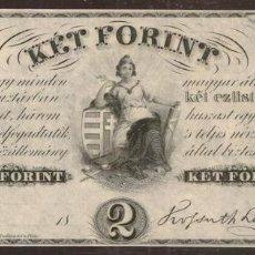 Notas Internacionais: HUNGRIA. BONITO 2 FORINT (1852). PICK S142. SIN FIRMAS - REMAINDER. PAPEL FINO. SERIE B.. Lote 207763775