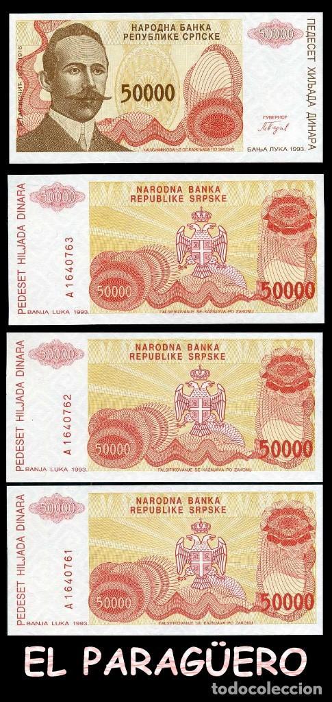 BOSNIA 50.000 DINARA DE 1993 TRIO CORRELATIVO ( PETAR KOCIC - POLITICO Y POETA SERBIO BOSNIO ) (Numismática - Notafilia - Billetes Extranjeros)