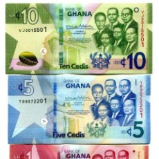 Notas Internacionais: GHANA 1 5 10 CEDIS 2019 P-45-47 UNC SET OF 3 BILLETES. Lote 217829550