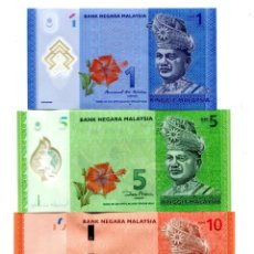 Notas Internacionais: MALAYSIA 1 5 10 RINGGIT ND (2012-17) P-51B,52B,53A UNC SET OF 3 BILLETES. Lote 217829457