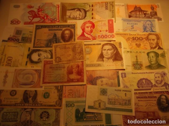 Billetes extranjeros: 22 Billetes varios , España entre otros muchos sin circular y un dolar - Foto 2 - 208469387