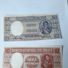 Billetes extranjeros: CHILE BILLETES 5 Y 10 PESOS. Lote 208566996