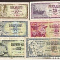 Banconote internazionali: YUGOSLAVIA. 6 VALORES.. Lote 209712512