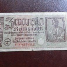 Banconote internazionali: ALEMANIA 20 MARCOS GOBIERNO NAZI TERRITORIOS OCUPADOS II GUERRA MUNDIAL 1940-1945. Lote 209748551