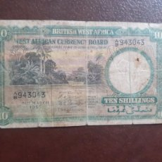 Billetes extranjeros: BRITISH WEST AFRICA. 10 SHILLINGS. ÁFRICA OCCIDENTAL BRITÁNICA 1953. Lote 209797735