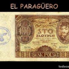 Billetes extranjeros: POLONIA BILLETE CLASICO ORIGINAL 100 ZLOTYC AÑO 1934 CON SELLO VIOLETA ESVASTICA DE LA ALEMANIA NAZI. Lote 209806673