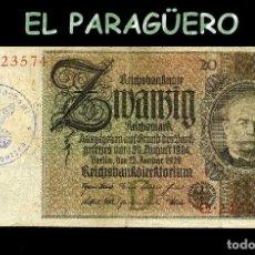 Billetes extranjeros: ALEMANIA BILLETE CLASICO ORIGINAL 20 MARKOS AÑO 1929 CON SELLO VIOLETA ESVASTICA DE LA ALEMANIA NAZI. Lote 209806981