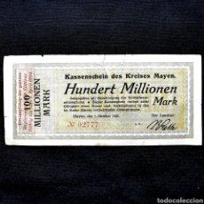Banconote internazionali: C13. PARECE ESCASO. ALEMANIA. MAYEN. 100 MILLONES MARK 1923, CON RESELLO PARA COBLENZ HASTA 1924. Lote 209980642