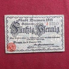 Banconote internazionali: NOTGELD - ALEMANIA / BREMEN - 50 PFENNIG - 1917. Lote 210373138