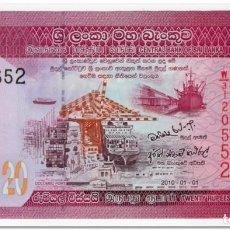 Banconote internazionali: SRI LANKA,20 RUPEES,2010,P.123,UNC. Lote 210520665