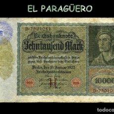 Billetes extranjeros: ALEMANIA BILLETE CLASICO ORIGINAL 10000 MARKOS AÑO 1922 CON SELLO VIOLETA DE ESVASTICA ALEMANIA NAZI. Lote 210525955