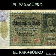Billetes extranjeros: ALEMANIA BILLETE CLASICO ORIGINAL 10000 MARKOS AÑO 1922 CON SELLO VIOLETA DE ESVASTICA ALEMANIA NAZI. Lote 210526007