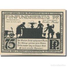 Billetes extranjeros: BILLETE, ALEMANIA, PADERBORN, 75 PFENNIG, EGLISE, 1921, SC MEHL:1043.4. Lote 210989107