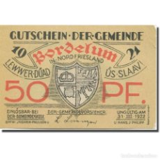 Billetes extranjeros: BILLETE, ALEMANIA, BORDELUM, 50 PFENNIG, BLASON 4, 1922 SC MEHL:143.1. Lote 211081162