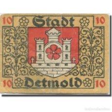 Billetes extranjeros: BILLETE, ALEMANIA, DETMOLD, 10 PFENNIG, CHÂTEAU, 1920, BC, MEHL:268.1A. Lote 211255700