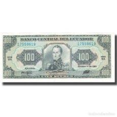 Billetes extranjeros: BILLETE, 100 SUCRES, 1991, ECUADOR, 1991-10-11, KM:123AA, UNC. Lote 211255754